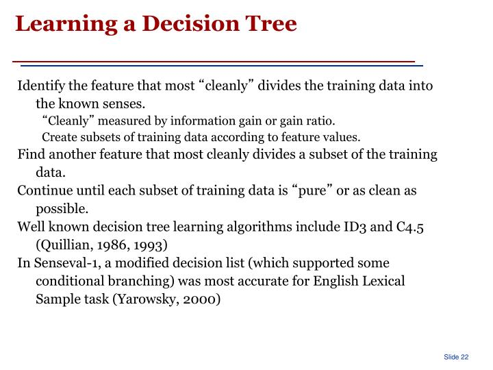Learning a Decision Tree