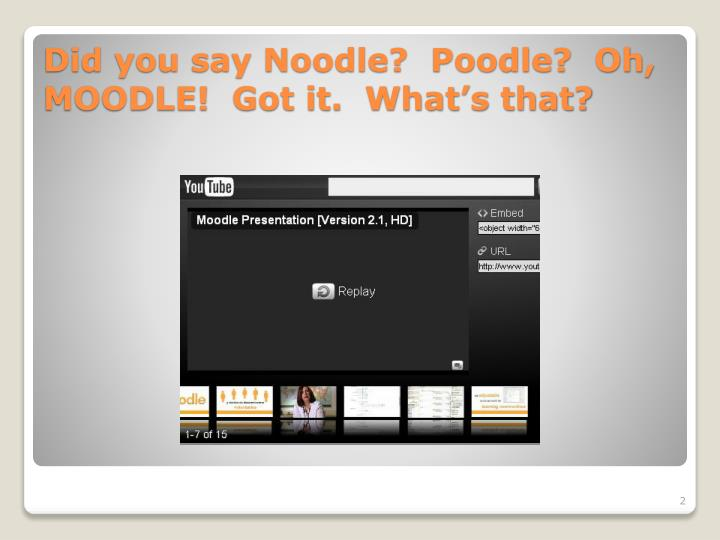 Did you say Noodle?  Poodle?  Oh, MOODLE!  Got it.  What's that?