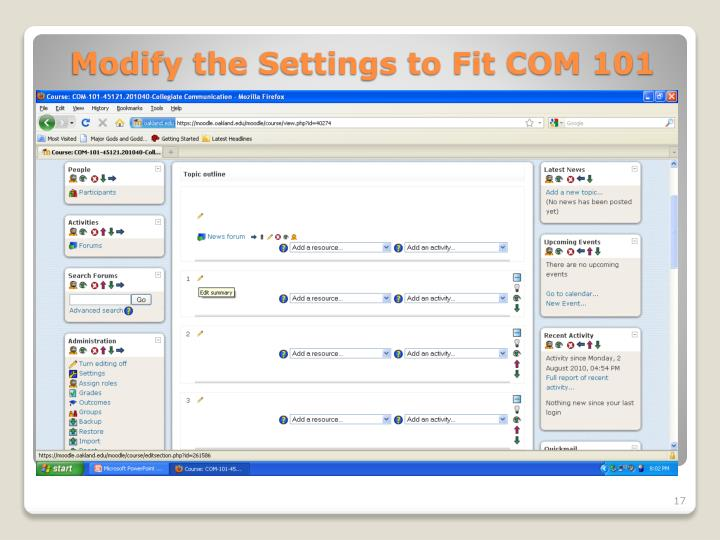 Modify the Settings to Fit COM 101