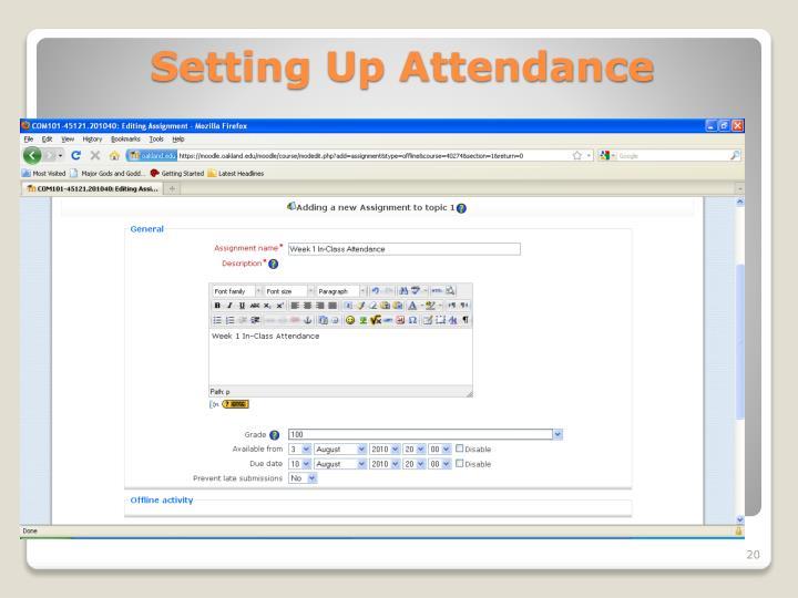 Setting Up Attendance