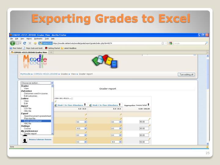Exporting Grades to Excel