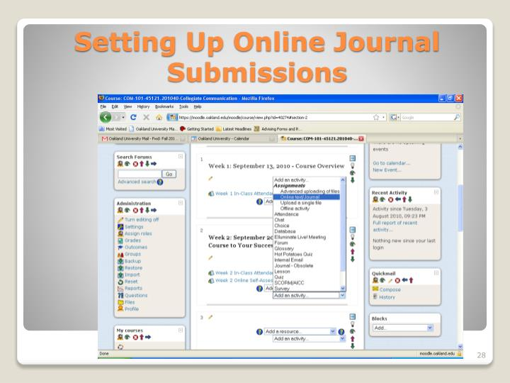 Setting Up Online Journal Submissions