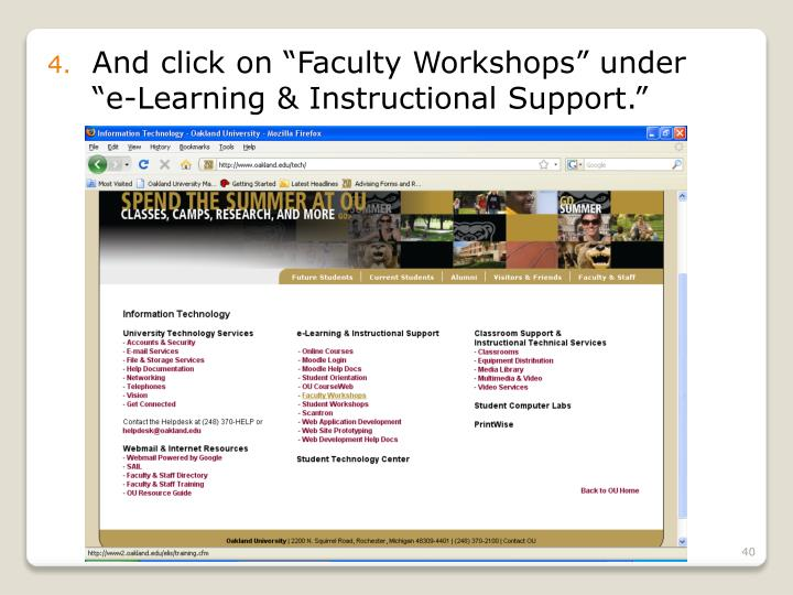 """And click on """"Faculty Workshops"""" under """"e-Learning & Instructional Support."""""""
