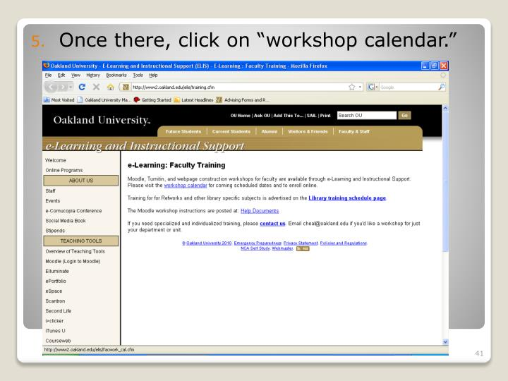 """Once there, click on """"workshop calendar."""""""