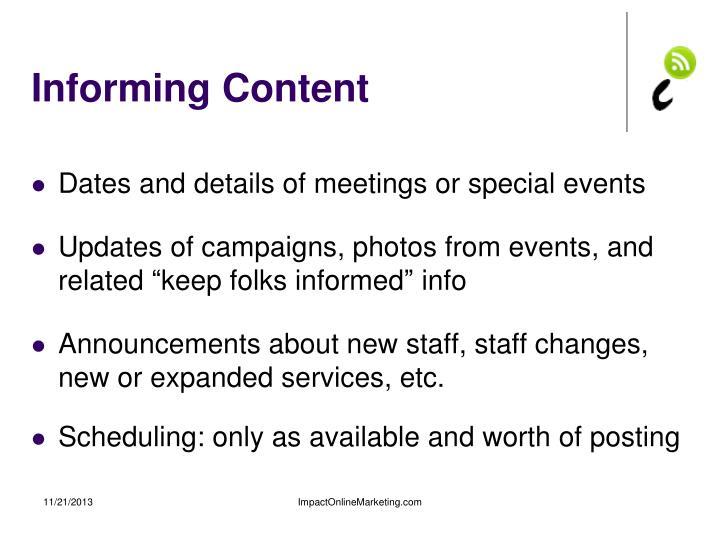 Informing Content