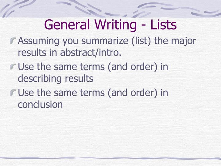 General Writing - Lists