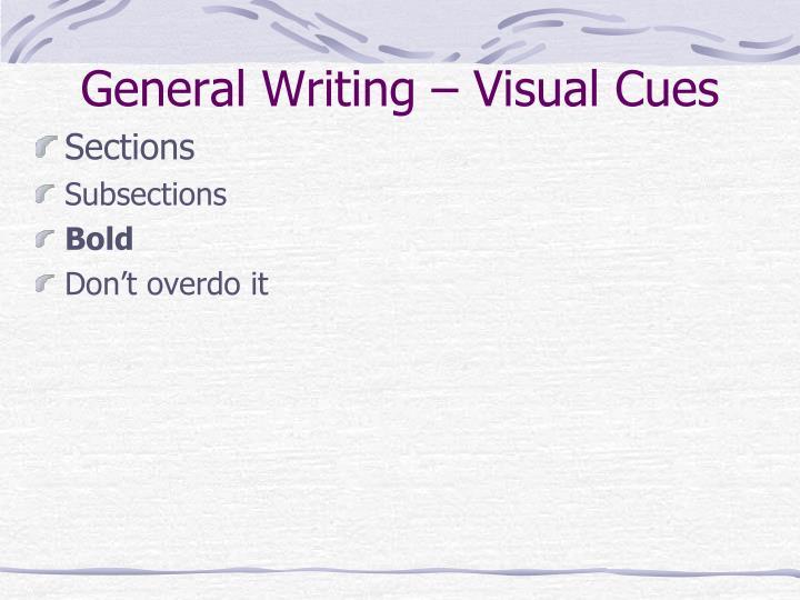 General Writing – Visual Cues