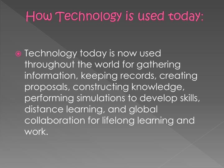 How Technology is used today