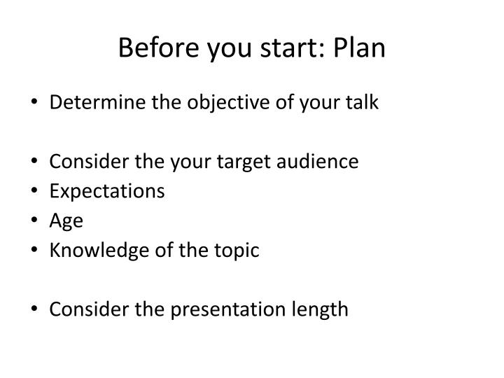 Before you start plan