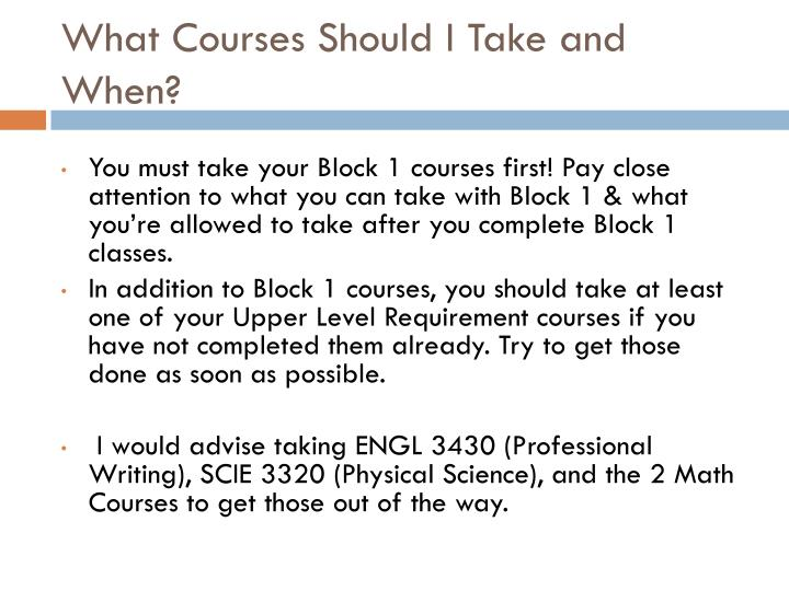 What Courses Should I Take and When?