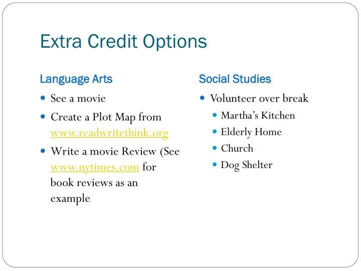Extra Credit Options
