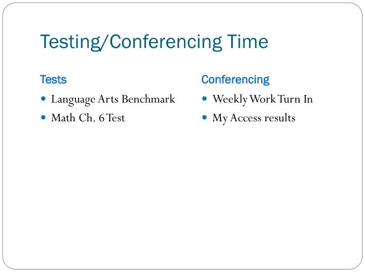 Testing/Conferencing