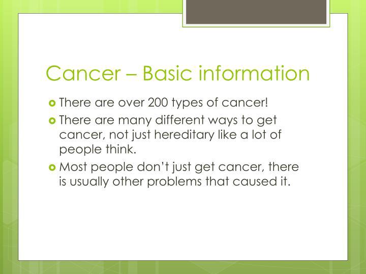 Cancer – Basic information