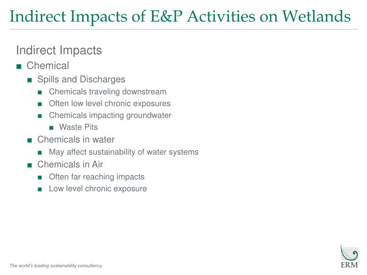 Indirect Impacts of E&P Activities on Wetlands