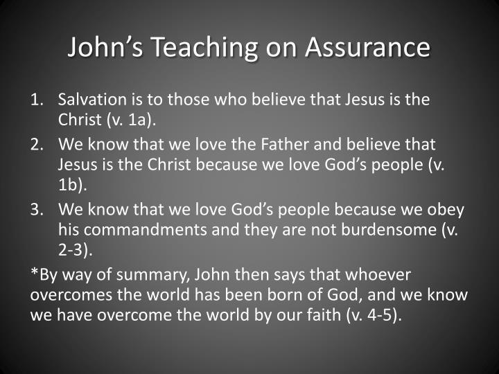 John's Teaching on Assurance