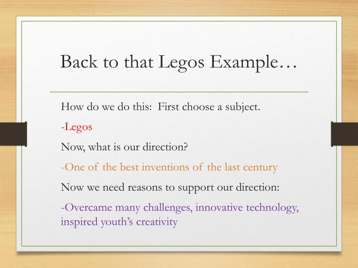 Back to that Legos Example…