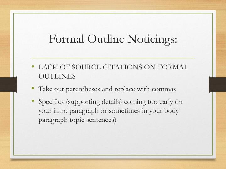 formal outlines