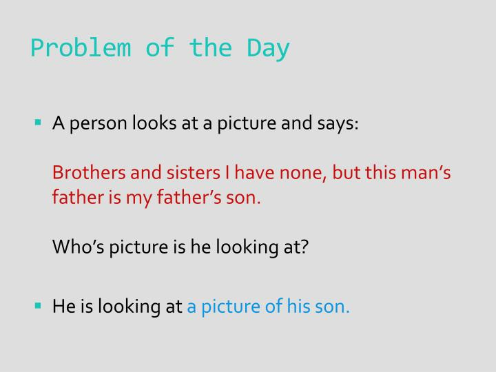 Problem of the day1