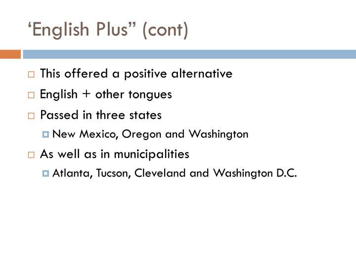 "'English Plus"" (cont)"
