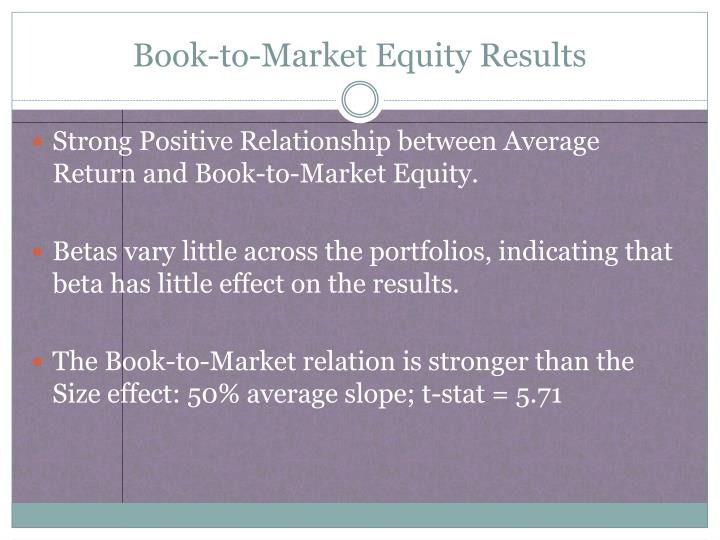 Book-to-Market Equity Results