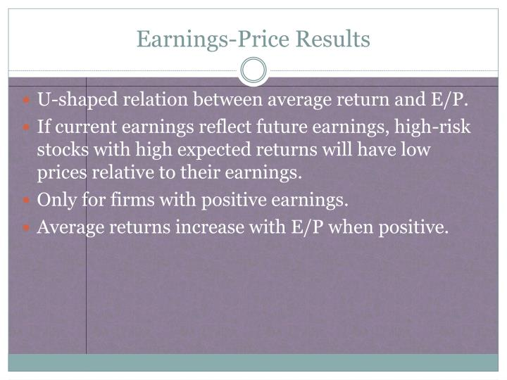 Earnings-Price Results