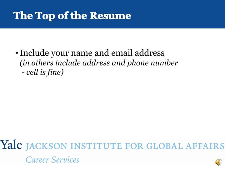 The Top of the Resume