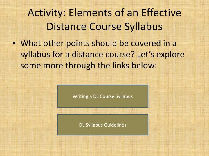 Activity: Elements of an Effective Distance Course Syllabus