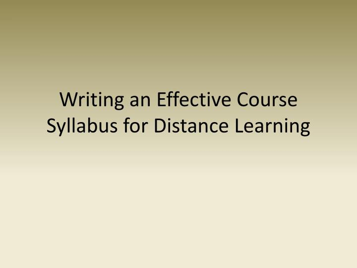 Writing an Effective Course Syllabus for Distance Learning