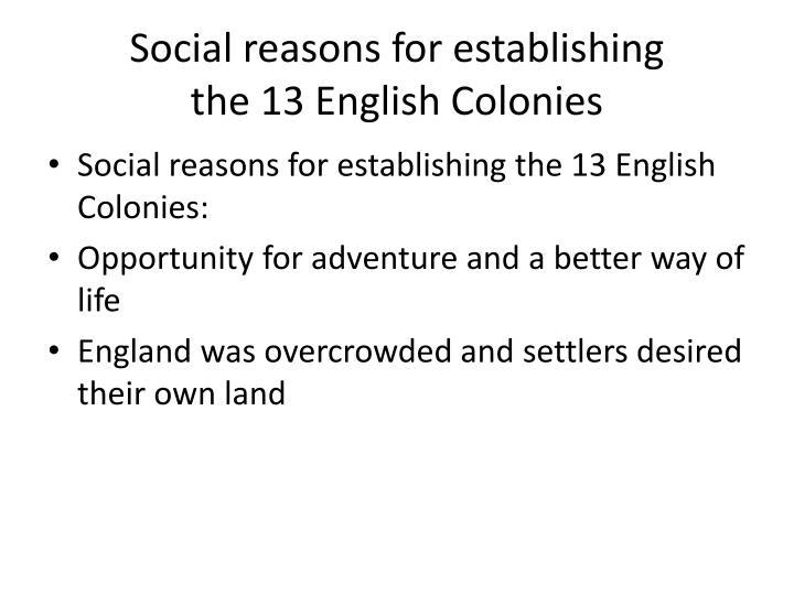 Social reasons for establishing