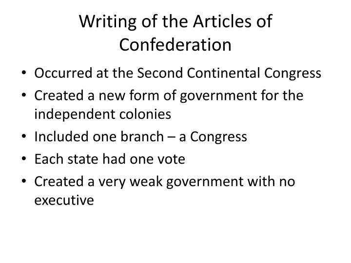 Writing of the Articles of Confederation