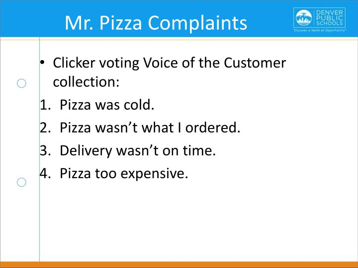 Mr. Pizza Complaints