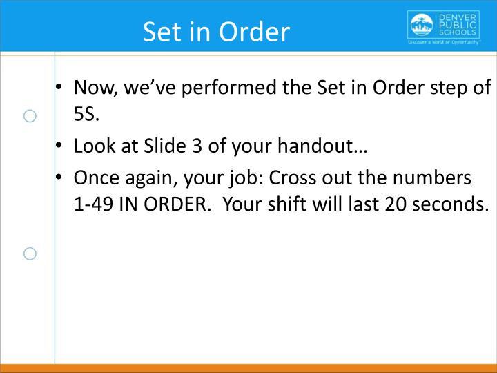 Set in Order
