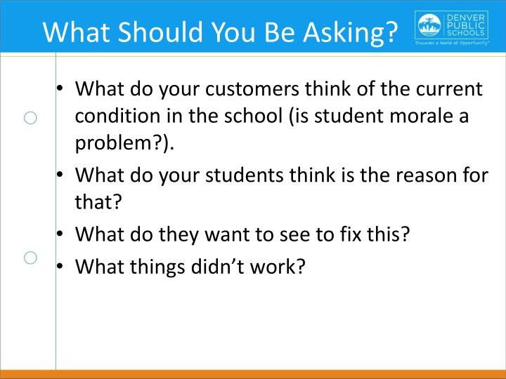 What Should You Be Asking?