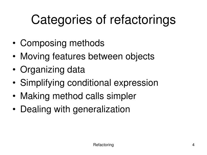 Categories of refactorings