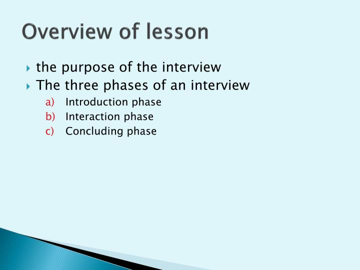 Overview of lesson