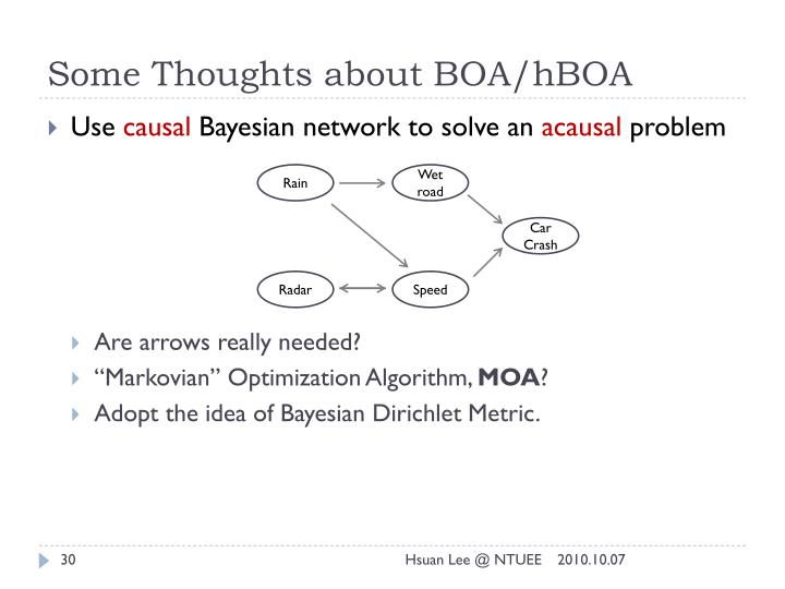 Some Thoughts about BOA/