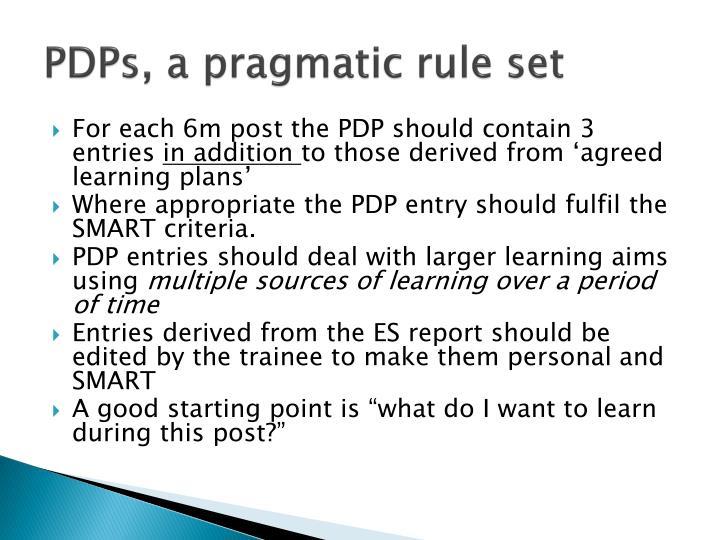 PDPs, a pragmatic rule set