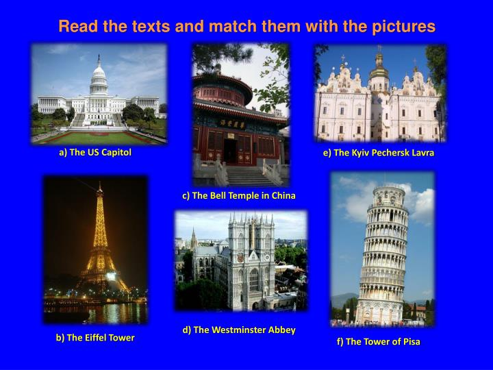 Read the texts and match them with the pictures