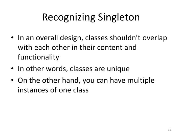 Recognizing Singleton