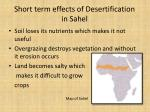 short term effects of desertification in sahel