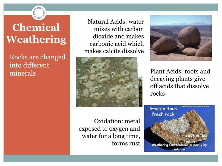 Natural Acids: water mixes with carbon dioxide and makes carbonic acid which makes calcite dissolve