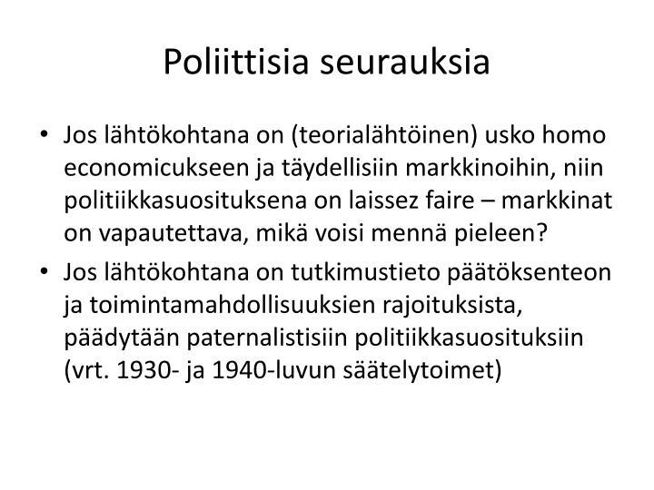 Poliittisia seurauksia