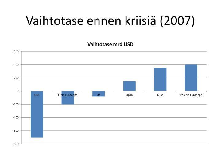 Vaihtotase ennen kriisiä (2007)