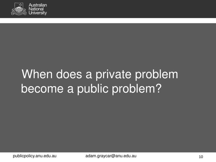When does a private problem become a public problem?