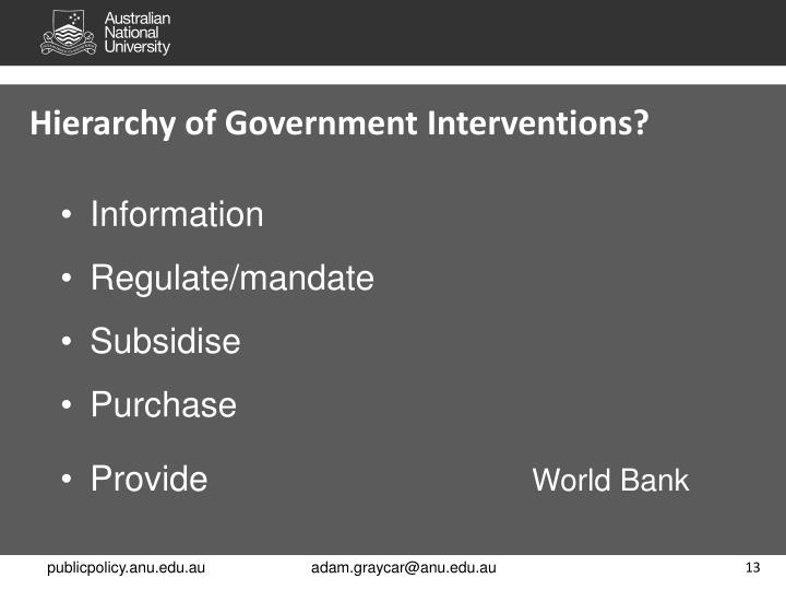 Hierarchy of Government Interventions?