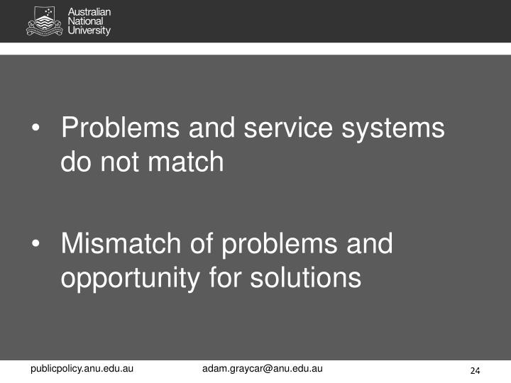 Problems and service systems do not match