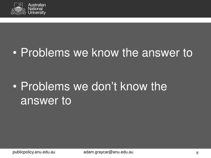 Problems we know the answer to