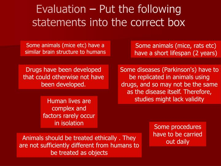 Evaluation – Put the following statements into the correct box