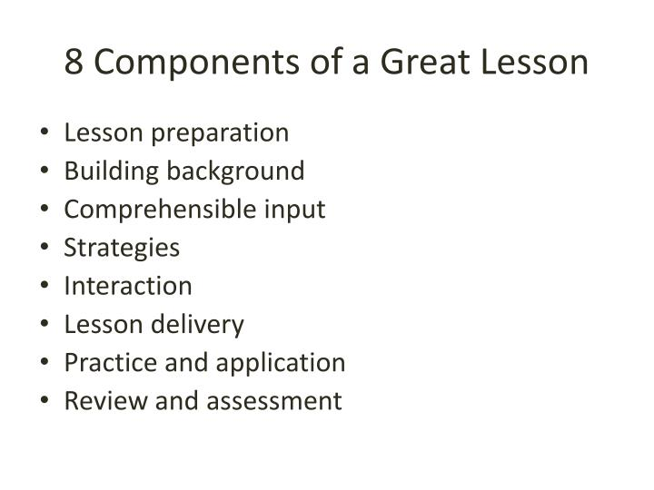 8 Components of a Great Lesson