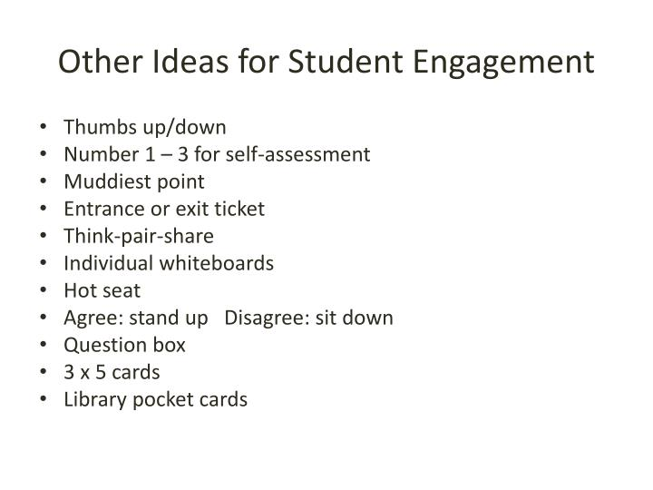 Other Ideas for Student Engagement
